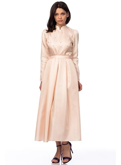 İroni İnci İşlemeli Uzun Elbise Somon